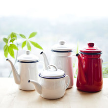 Эмалированный Кофе чайник ручной работы утолщение поверхности масло горшок свинец качество кухонные инструменты столовая посуда легко использовать здоровый горшок