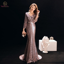 Walk Beside You Evening Gowns for Women Rose Gold Mermaid Sexy Deep V-neck Sequined Bling Long Sleeves Sweep Train Prom Dresses