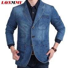 LONMMY М-4XL Джинсовая куртка мужчины пиджак 80% Хлопок Костюмы для мужчин Ковбой пиджак джинсы куртка мужчины jaqueta Бренд-одежда повседневная