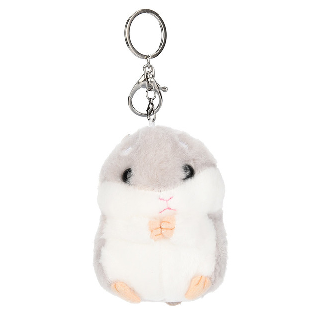 Cute Plush Hamster Pendant Key Chain Clasp Key Ring Keyring Handbag Home Phone Decor Soft Toys For Girls Children FE07e
