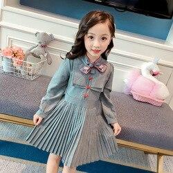 2019 nova moda primavera e outono vestido da menina manga longa crianças roupas meninas arco plissado vestidos de princesa roupas da menina