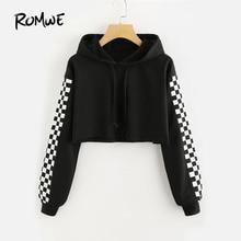 ROMWE Contrast Checked Sleeve Crop Hoodie Drawstring Plaid Regular Fit