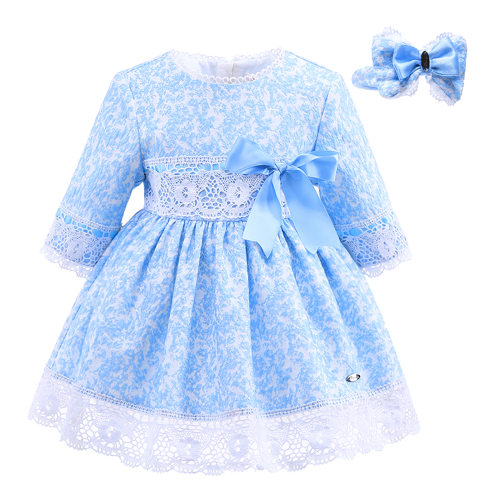 Pettigirl Blue Girls Winter Dress Lace Sash Dresses With