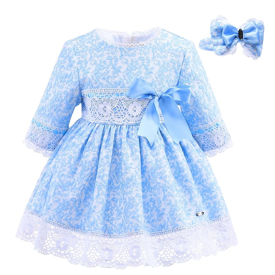 Pettigirl Blue Girls Winter Dress Lace Sash Dresses With