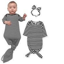 Oklady/Одежда для маленьких девочек платье для новорожденной узлом младенческой ночная рубашка шпалы комбинезон с ободком