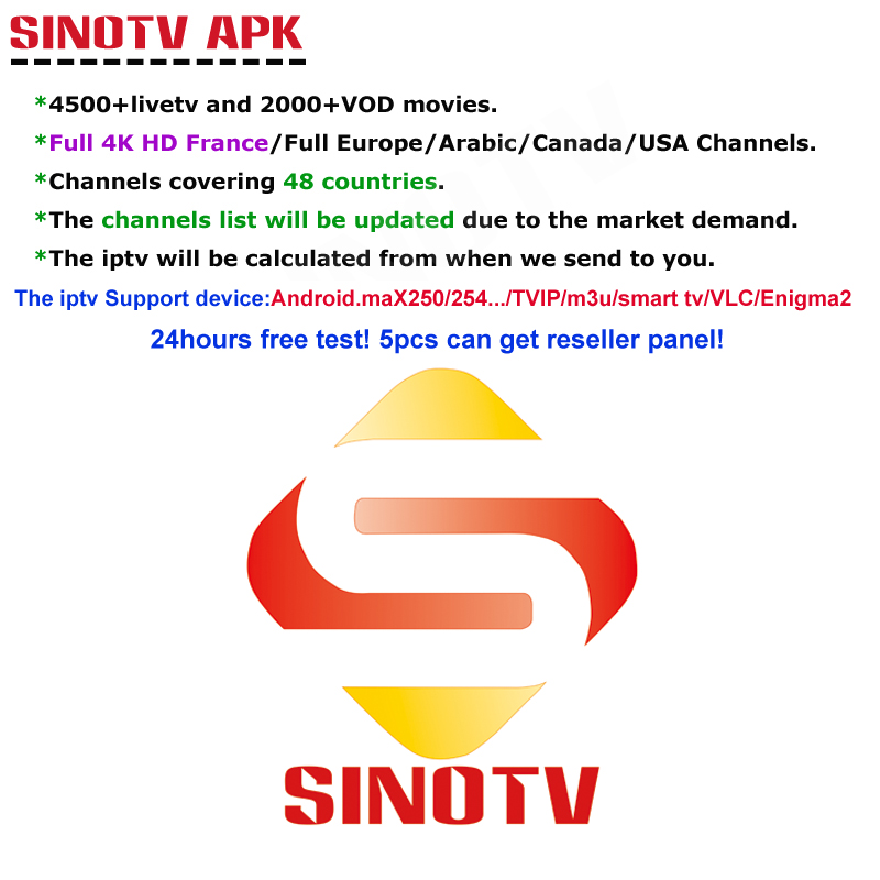 1 Year SINOTV Subscription Code M3U APK Europe Swedish Portugal IPTV Subscription Over 6200 Channels USA Canada UK French Arabic