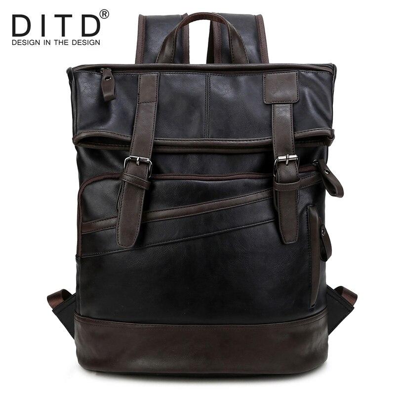 DITD Men's Backpack Waterproof PU Leather Bags Fashion Boys School Bag Teenagers Luxury Designer Casual Large Laptop Bag Male