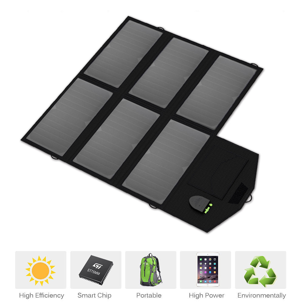 Dual USB+DC Portable Solar Charger Foldable Solar Panel Charger for iPhone iPad Samsung 12 Car Battery 18~19V Laptops and more.
