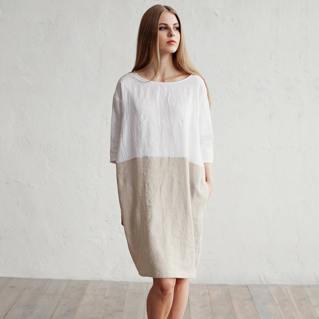 0d0b3a1c496c Women Patchwork Cotton Linen Dress Summer Three Quarter Sleeve O Neck Loose  Fitted Short Dresses Simple Pockets Sundress