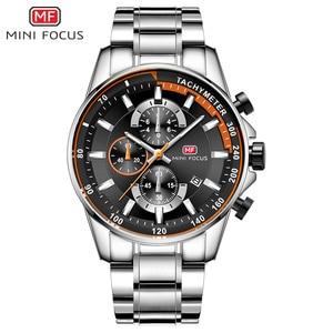 Image 2 - MINI FOCUS Mens Business Dress Watches Stainless Steel Luxury Waterproof Chronograph Quartz Wrist Watch Man Silver 0218G.03