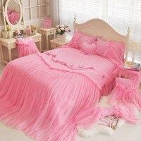 100% хлопок, розовый/синий/фиолетовый кружевной пододеяльник, простыня, набор с аппликацией в виде бабочки, набор постельного белья для девоч...