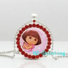 New Trendy Dora The Explorer Crystal Necklace Dora Pendant Glass Photo Jewelry Ball Chain Cute Anime Pendants Gifts Girl