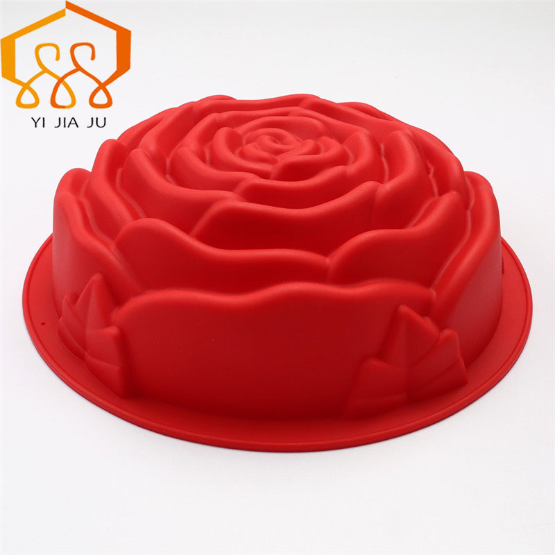 Baking Tools Stor Rose Bursdagskake Feiring Party Cocktail Party Cake Tools Silikon mold