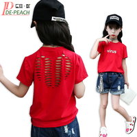 Casual Brand Letter Solid Girls T shirt Summer Teens Street Style Tees Girl Fashion Short sleeves Simple Hollow Out T-shirts