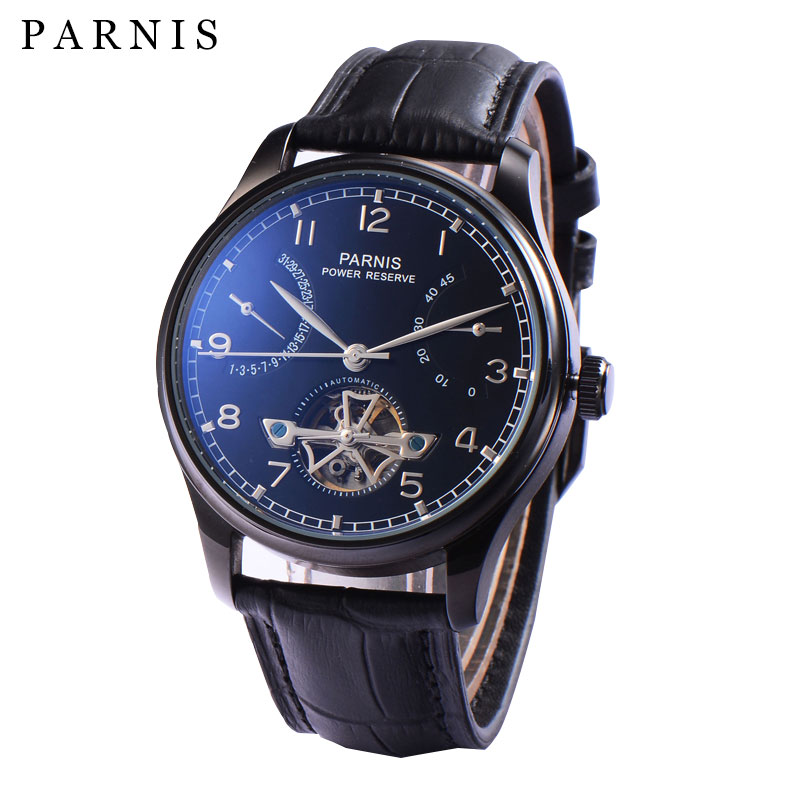 2017 New 43mm Parnis Tourbillon  Watch Men Automatic Sea Gull Power Reserve Watches Black Dial Stainless Case Men's Wristwatch