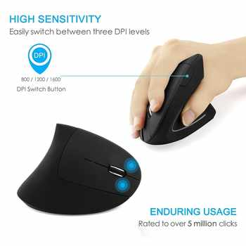 CHYI Ergonomic Vertical Bluetooth Mouse Wireless Optical Mause 800/1200/1600DPI Adjustable 6D Gaming Mice With LED For Laptop PC