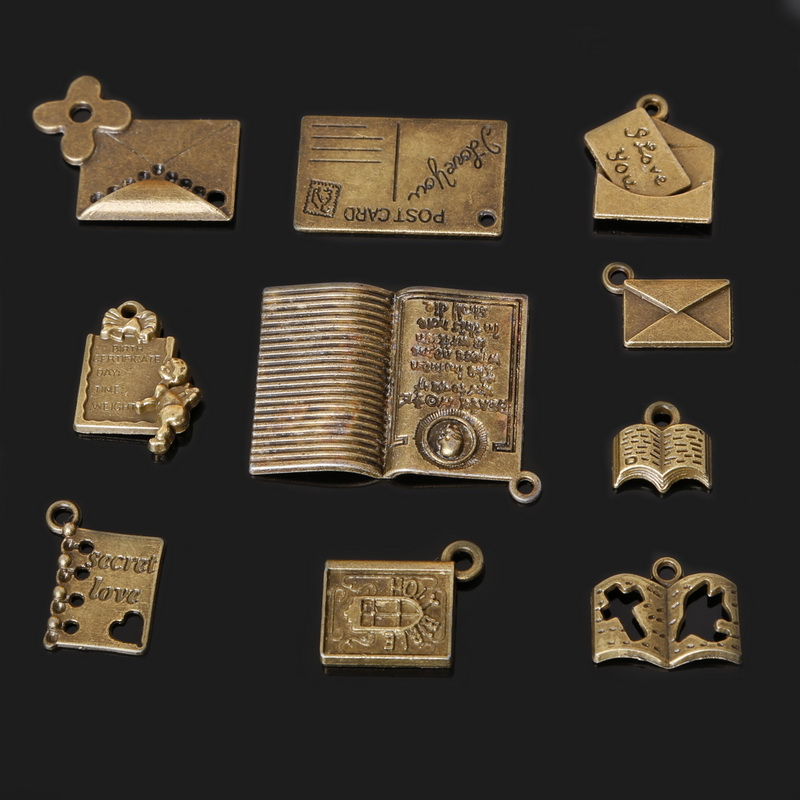 Books On Card Making Part - 30: 67pcs Antient Bronze Charm 10 Styles Kind Books Post Card Charms Pendant  For Making Bracelet DIY