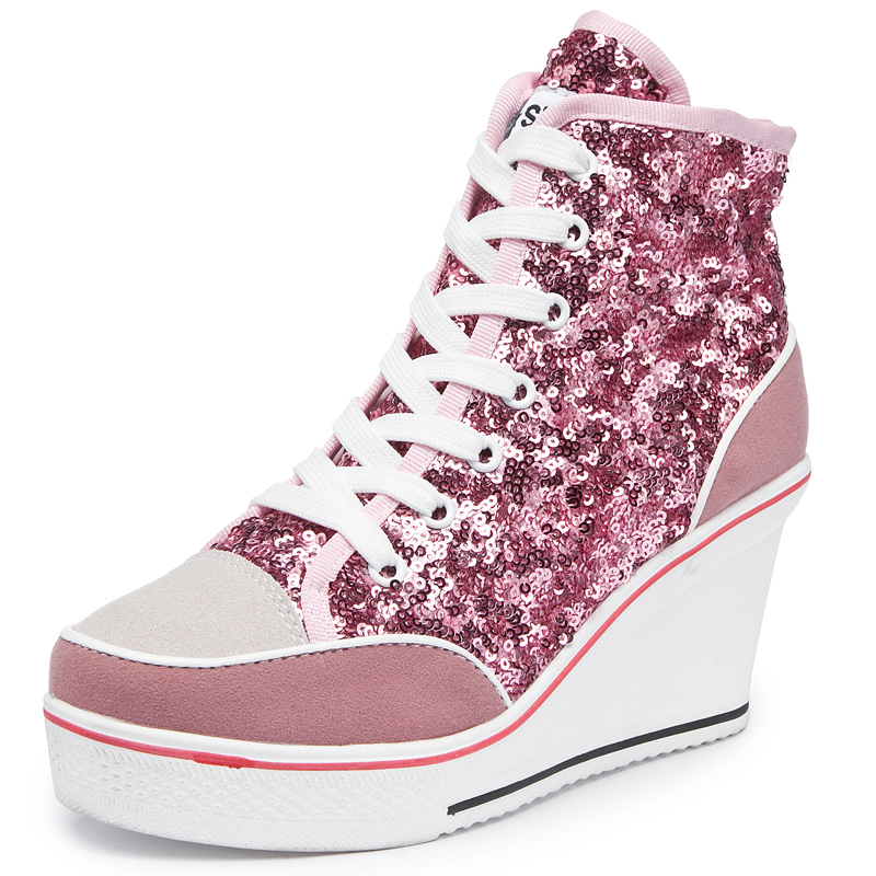 2019 Spring Autumn Women's Shoes Pink Black Silver Glitter Vulcanize Shoes Woman Platform Wedge Sneakers Casual Zapatos De Mujer