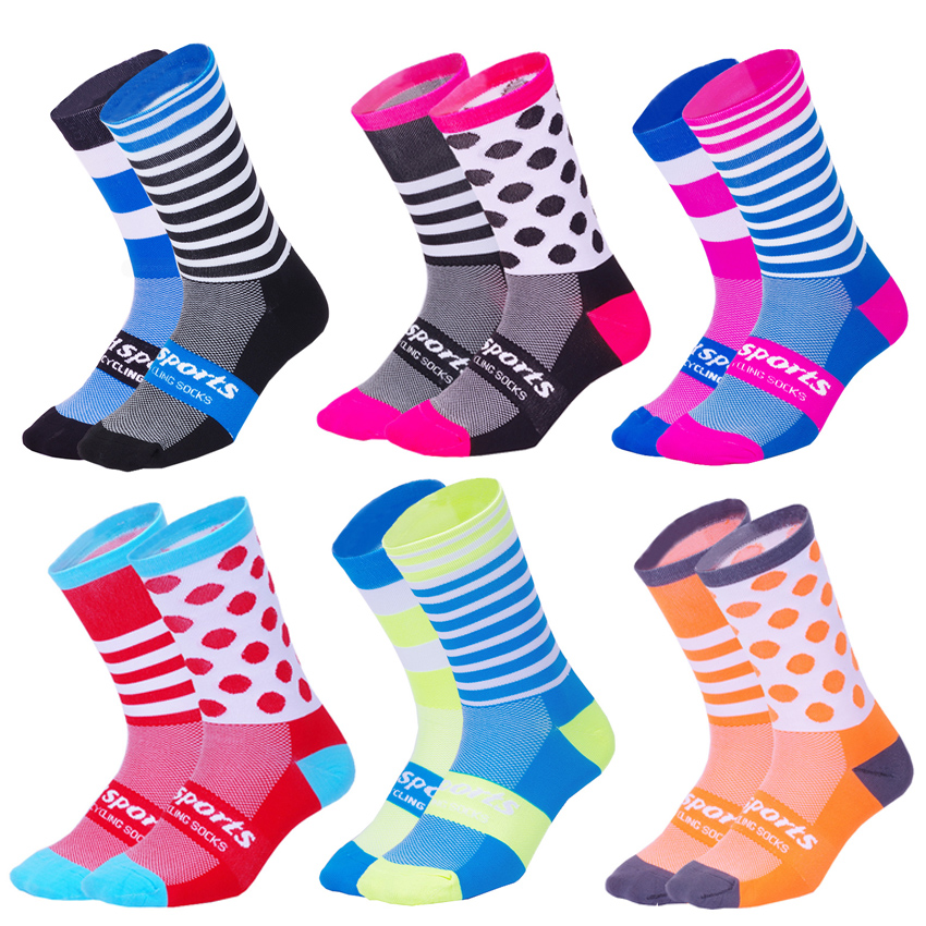 DH SPORTS Personality Cycling Socks Men Women Breathable Compression Running Sock Outdoor Road Bike Socks Bicycle Accessories