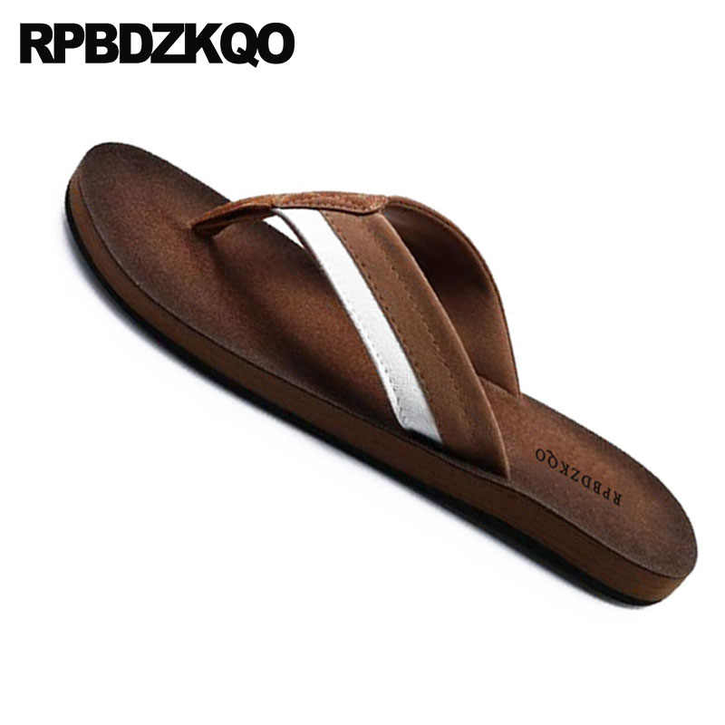 88846ac00 ... Flat Slip On Native Fashion Soft Shoes Flip Flop Beach Brown Slippers  Slides Leather Waterproof Mens