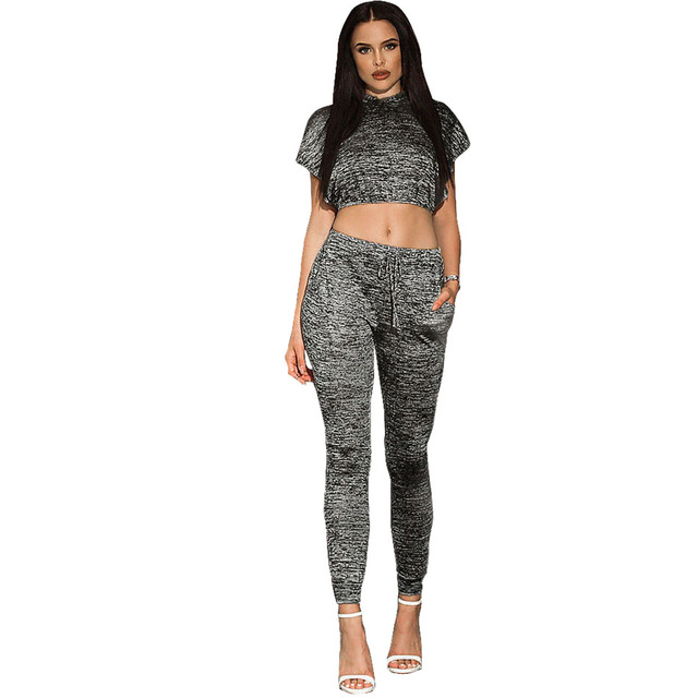 c0a7cba073c3 Hoddies Crop Top And Pants Set Conjuntos Ropa Mujer 2016 Fashion Women Set  Hot Selling Women Clothing