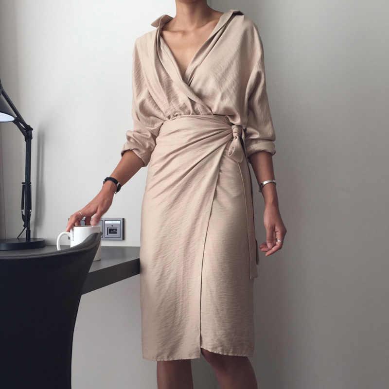 Vestido Sexy de moda 2019 para mujer vestido Irregular con correa en la cadera cuello en V de manga larga de Color sólido vestidos de fiesta para mujer noche Boho vestido de fiesta
