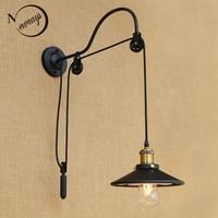 Preto retro vintage ajustável polia de ferro lâmpadas de parede de vidro longo E27 LEVOU luzes arandela para casa de banho quarto sala de estar|light sconce|led wall light sconces|wall lights sconces -