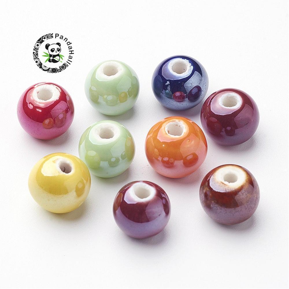 Handmade Фарфоровые Бусы, Pearlized, круглый, смешанный Цвет, 12 мм, отверстие: 2 мм