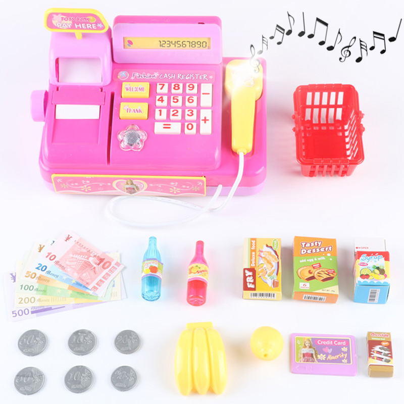 18pcs Electronic Supermarket Cash Register Toy Shopping Cart Basket Goods Machine Sound Pretend Play Cashier Toys For Girls