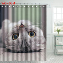 WONZOM 3D Waterproof Animal Shower Curtain With Hook Cat Bathroom High Quality Polyester Bath Cuntain For Home Decor
