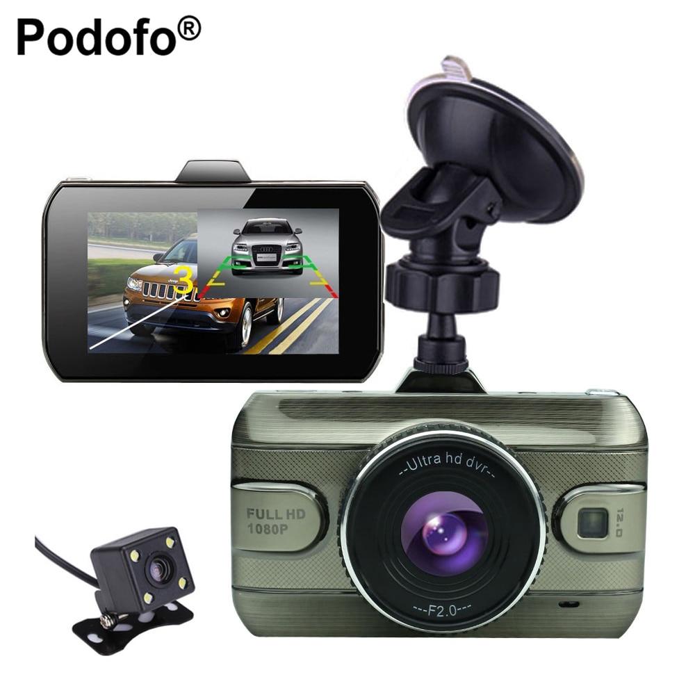 Podofo 2017 Nuevo 3 pulgadas lente dual del coche DVR de HD 1080 p coche DVR grabador de vídeo cámara de coches Dash CAM con visión trasera cámara de reserva