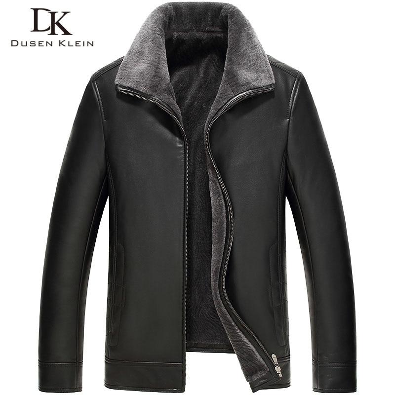 Dusen Klein 2017 New Brand Men's leather Jacket wool interior Genuine sheepskin wool collar Luxury male coat 61Z16016