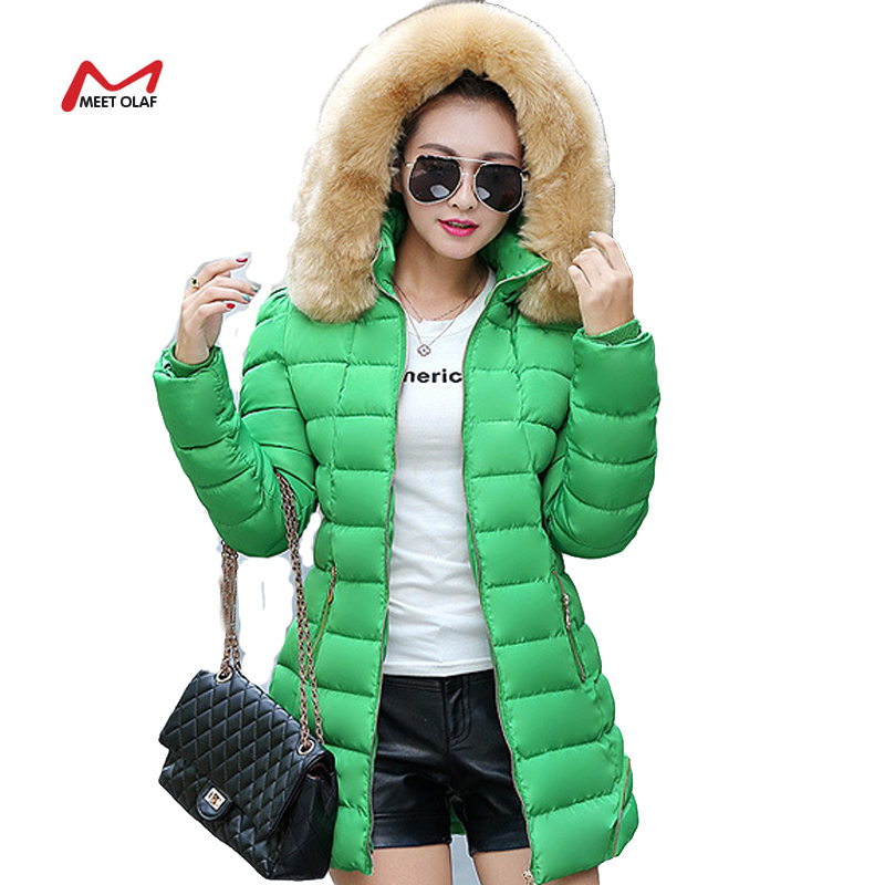 2015 Winter Women Coat Hooded Long Wadded Fashion Fur Collar Warm Coats  Outerwear Thicken Parkas Down Jacket For Female yl1301