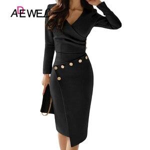 Image 3 - Женское офисное платье карандаш ADEWEL, повседневное белое платье с длинным рукавом, v образным вырезом, пуговицами и рюшами, вечерние платье длина миди, асимметричное платье
