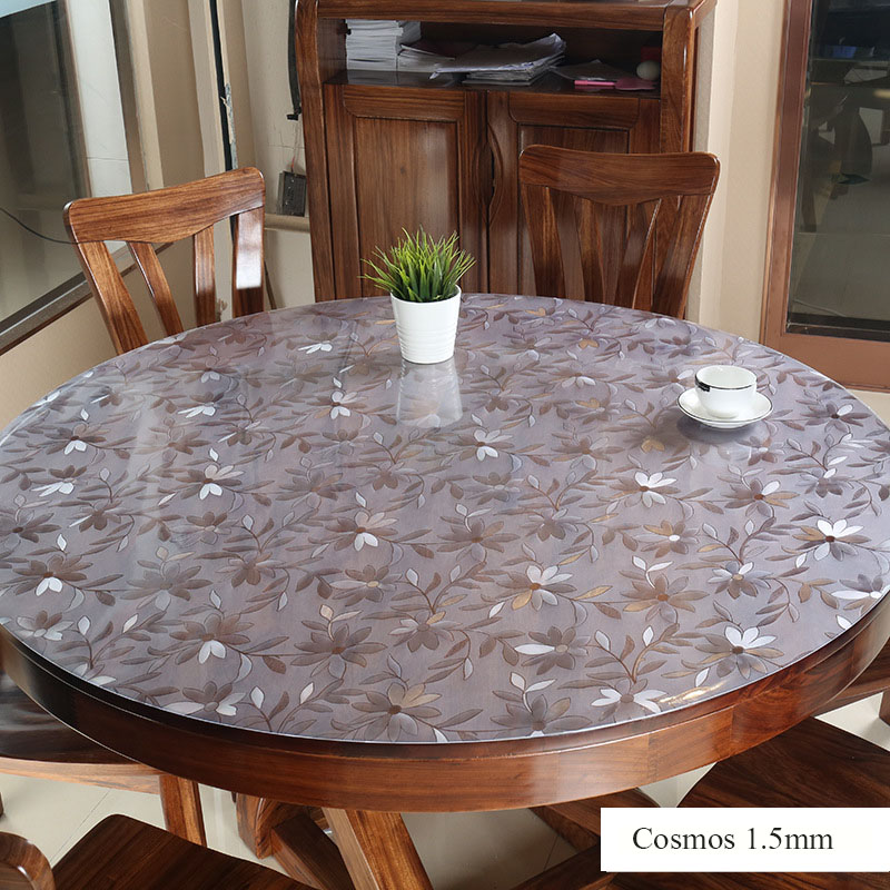 1.5mm Round PVC Tablecloth Table Cover Protector Desk Pad Soft Glass Dining Tablecloth Transparent Top Table Cloth Plastic Mat
