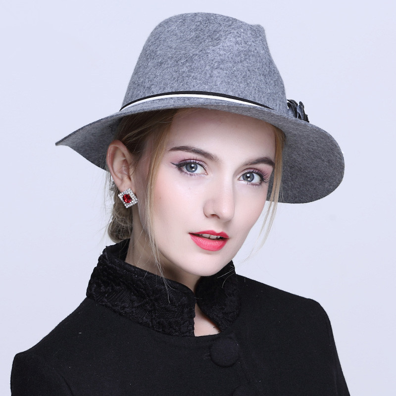 d25800c4a3b ... 100% Australia Wool Women s Winter Auturmn Floppy Brim Fedora Hat For  Elegant laday Jazz Church ...