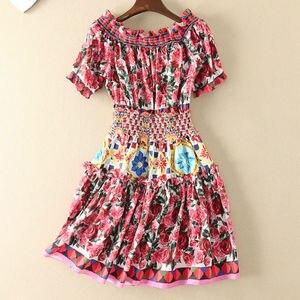 Image 4 - Короткое модельное платье высокого качества, 2020 летние новые женские модные вечерние богемные пляжные Сексуальные винтажные элегантные платья с принтом