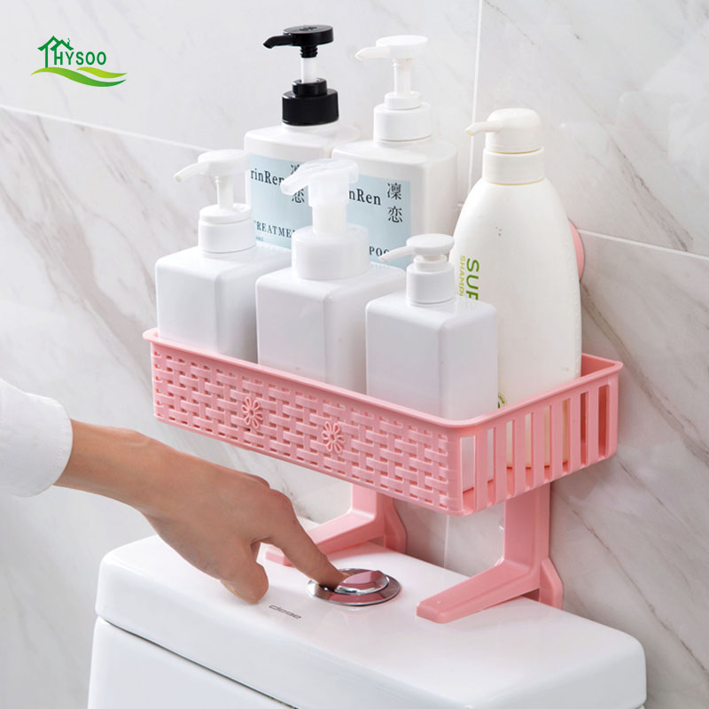 Hole-free woven bathroom shelf bathroom wall-mounted shelf toilet storage rack