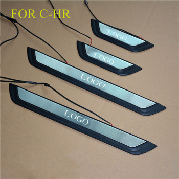 FIT For C-HR 2016 2017 2018 Door Sill Scuff LED Plate Welcome Pedal Stainless Steel Car Styling Accessories FOR CHR