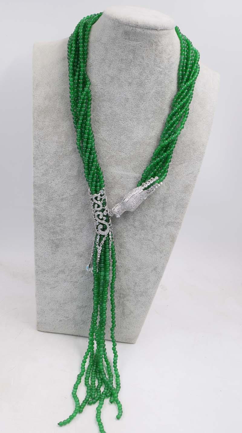 Здесь можно купить  8rows green jade  round shape 4mm +dargon clasp  necklace 32inch FPPJ wholesale beads nature   Ювелирные изделия и часы