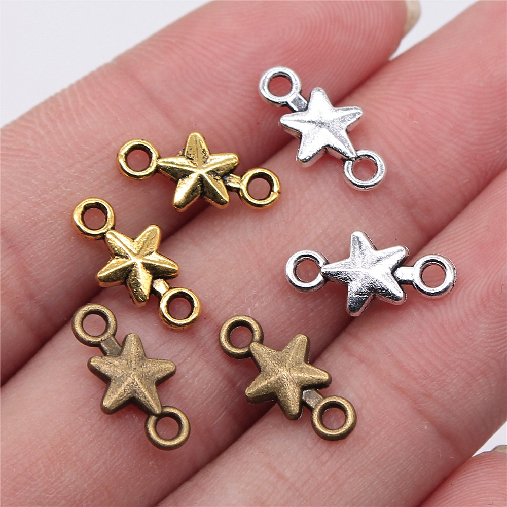 3 Pcs Silver Glow in the Dark Star Charms Findings 12mm