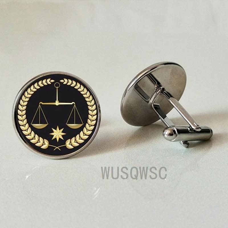 WUSQWSC  Handmade Golden Referee Justice Balance Messenger Men's Cufflinks Cufflinks Silver Shirt Premium Glass Cufflinks Gifts