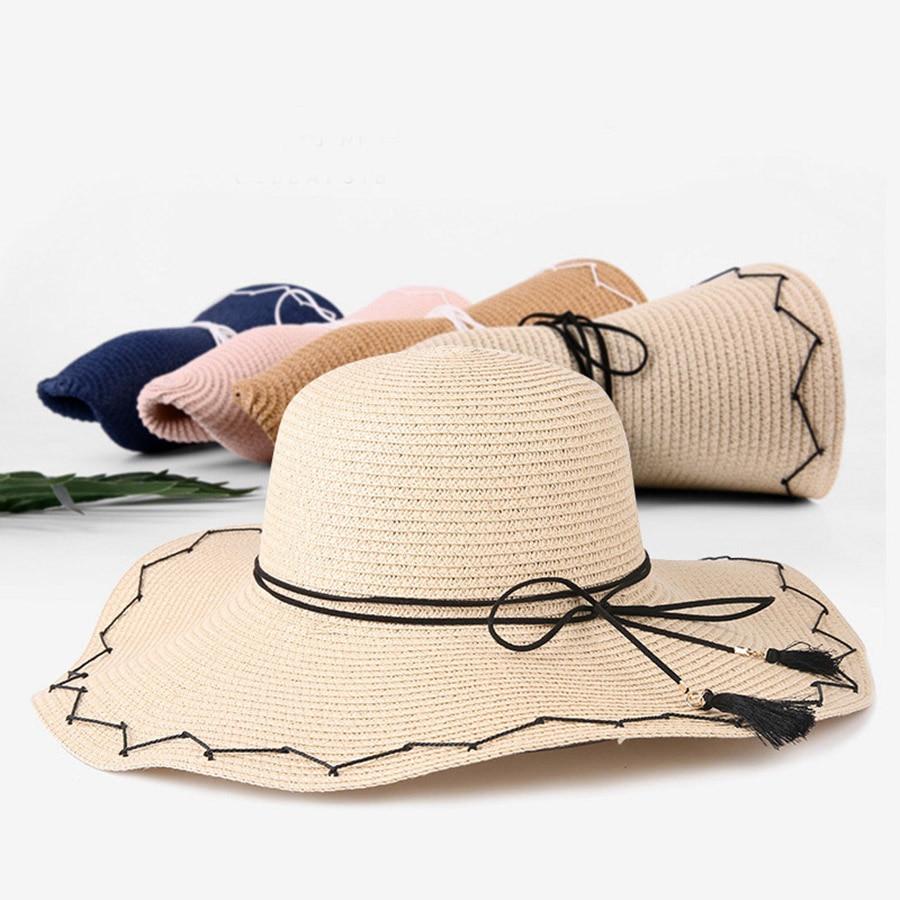 Ladies Sun Hats New Summer Straw Hat for Women Hand threaded Bow Cap Korean Solid Straw Caps Plus Brim Beach Cap in Women 39 s Sun Hats from Apparel Accessories