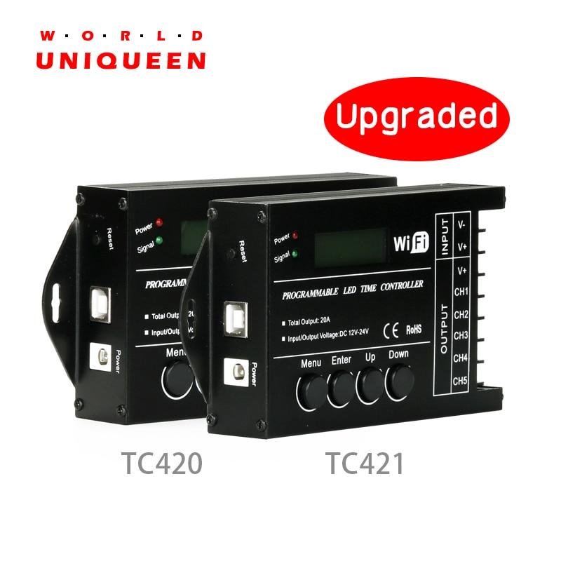 Atualizado tc420 tc421 tempo programável 5 ch saída led tira luz controlador, amplamente utilizado em aquários, tanque de peixes, planta crescer