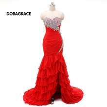 robe de soiree Glamorous Sweetheart Lace-up Floor-Length Mermaid Crystal Prom Dress Long Evening Dresses DGE030