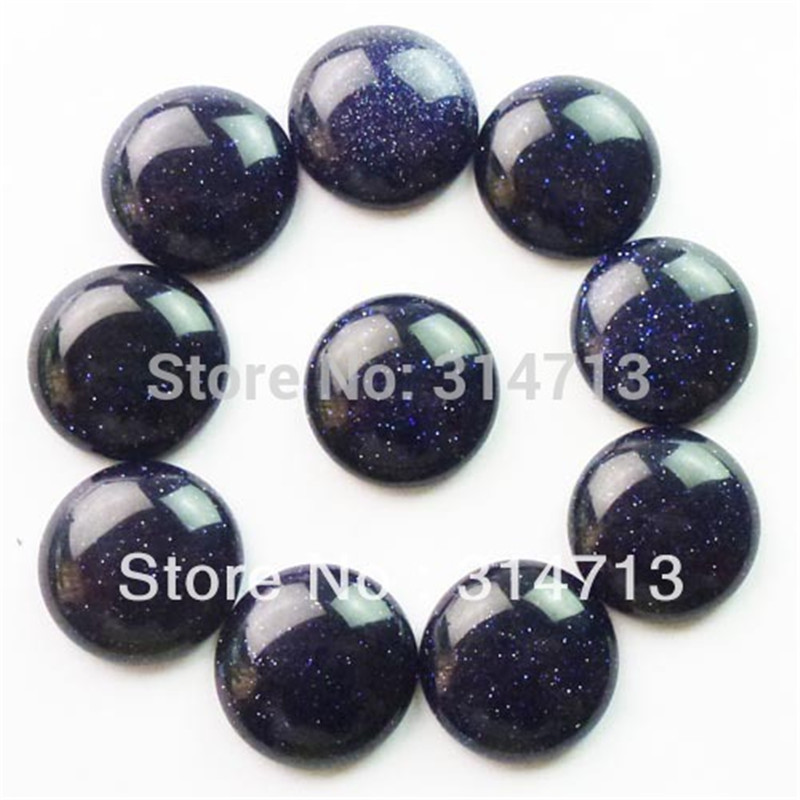(Min.order 10$ mix) Free shipping (10 pieces/lot) Beautiful Wholesale Blue Sand Stone Round CAB CABOCHON 20mm