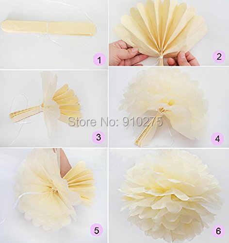 8 cái Hỗn Hợp Đào Cam Ngà Tissue Paper Pom Poms Paper Lantern Wedding Sinh Nhật Bên Bé Gái Nusery Trang Trí Phòng