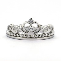 Tailor Made Solid 925 Sterling Silver Heart Crown Ring, Princess Queen Ring with CZ stone (#R234)