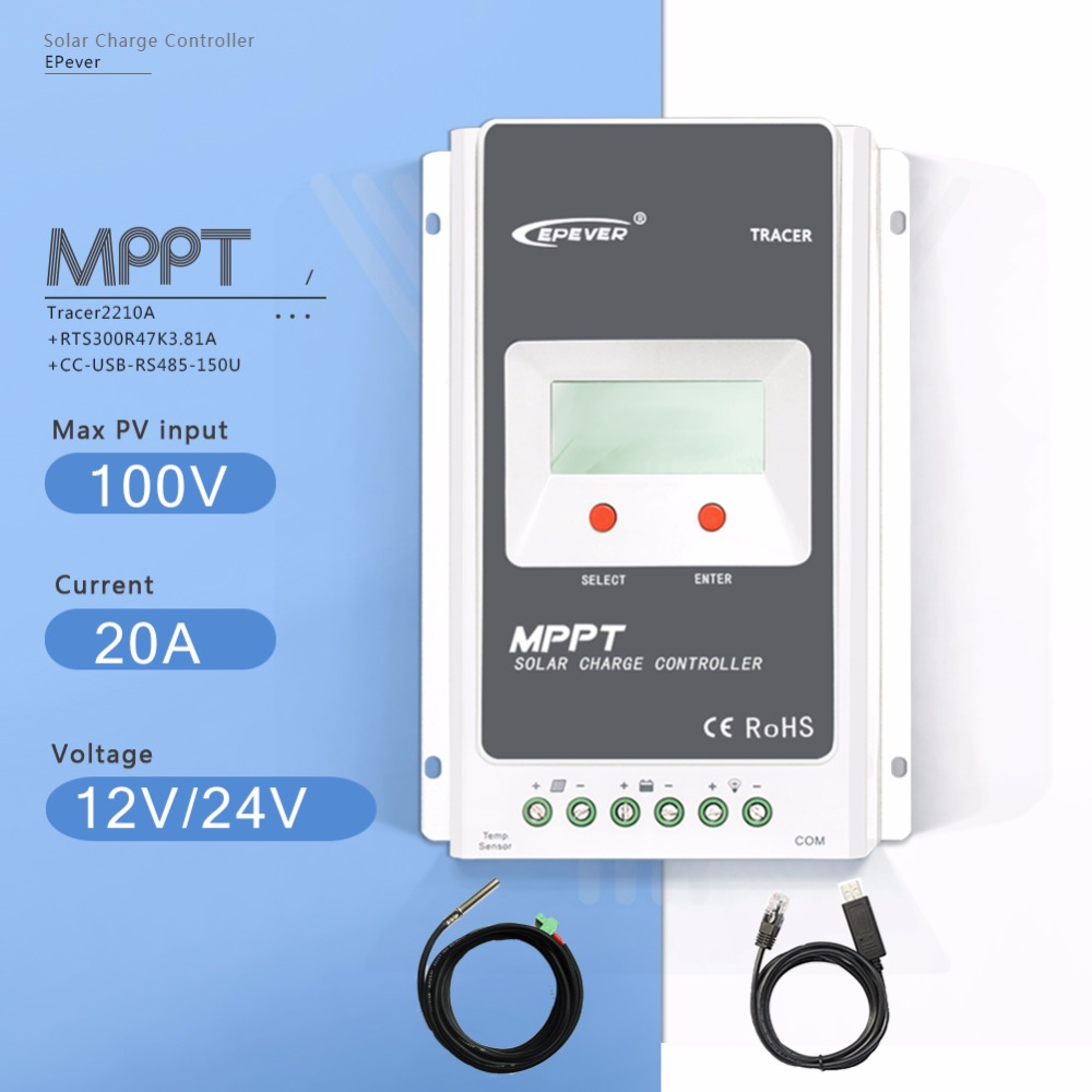 MPPT 20A Tracer2210A Solar Charge Controller 12V/24V Auto Solar Battery Charge Regulator with USB Cable and Temperature Sensor tracer2210a black mt50 remote meter mppt solar battery controller with usb and temperature sensor 20a