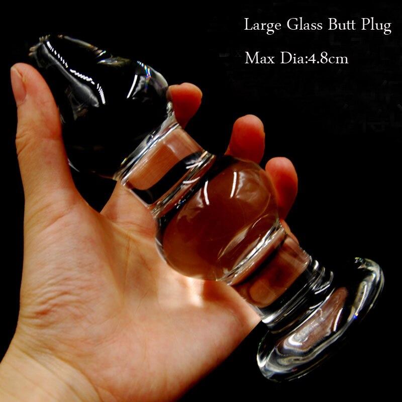 Women Super Big Large Transparent Crystal Glass Anal Plugs -5156
